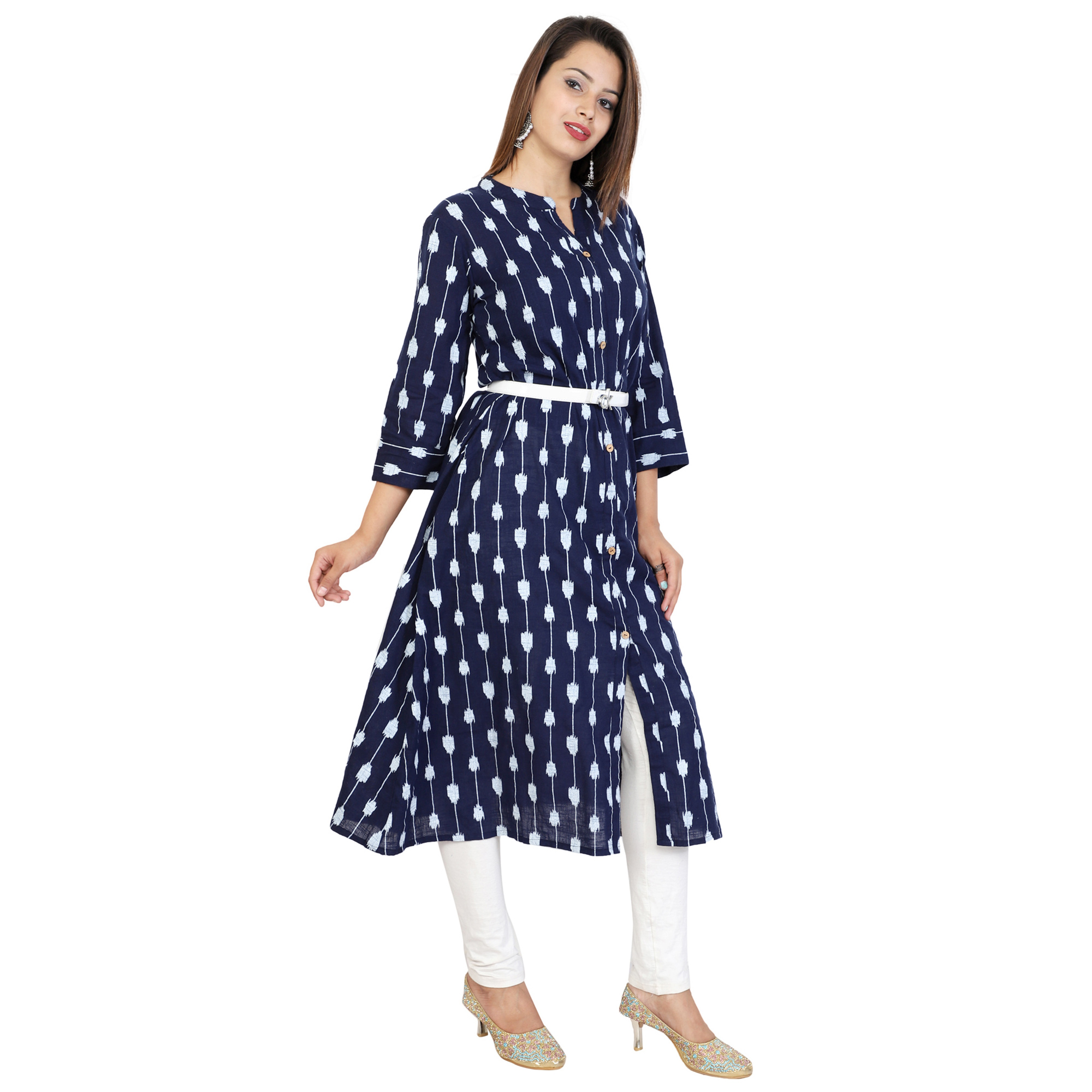 Ideal Navy Blue Colored Partywear Printed Cotton Slub Kurti