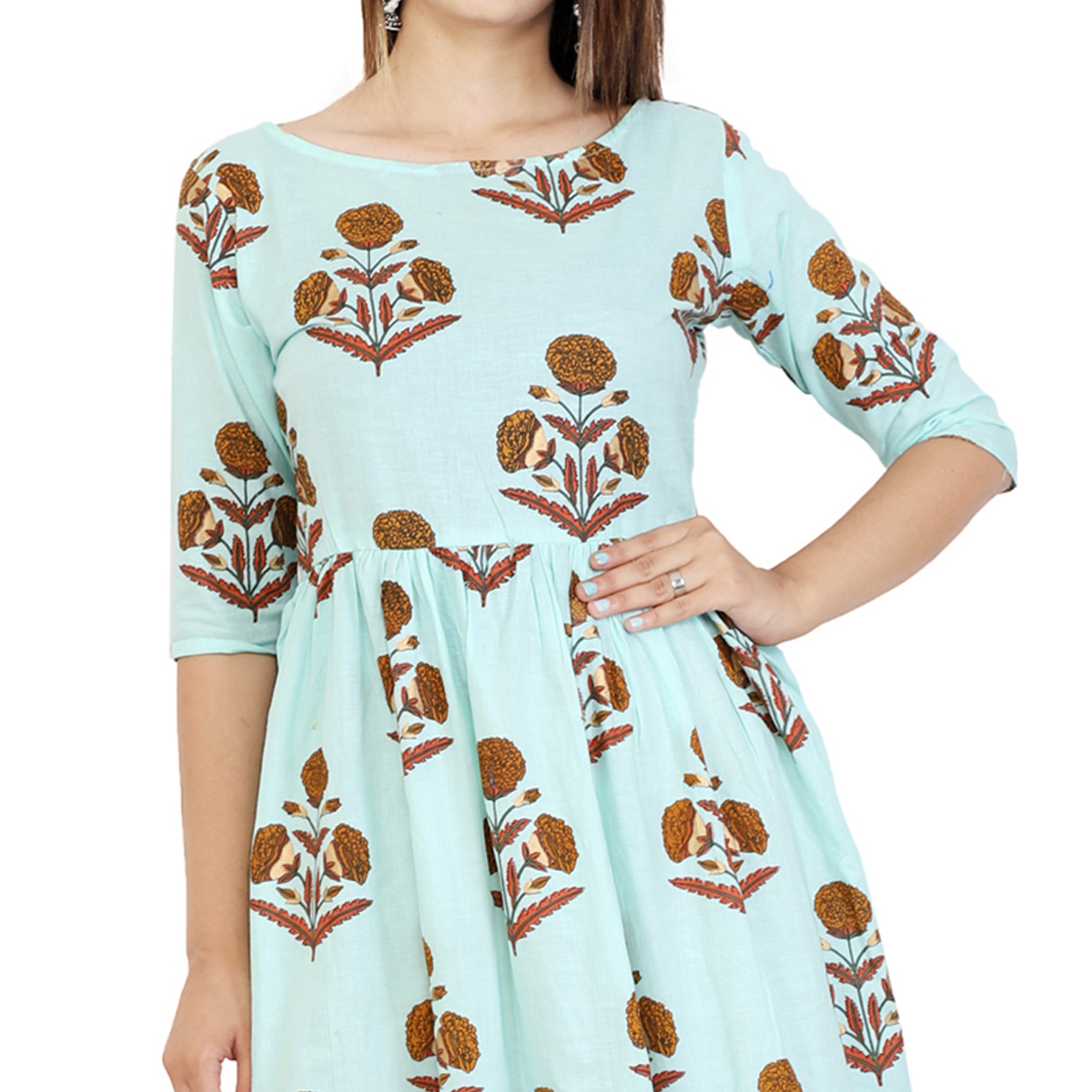 Imposing Blue Colored Partywear Printed Cotton Kurti