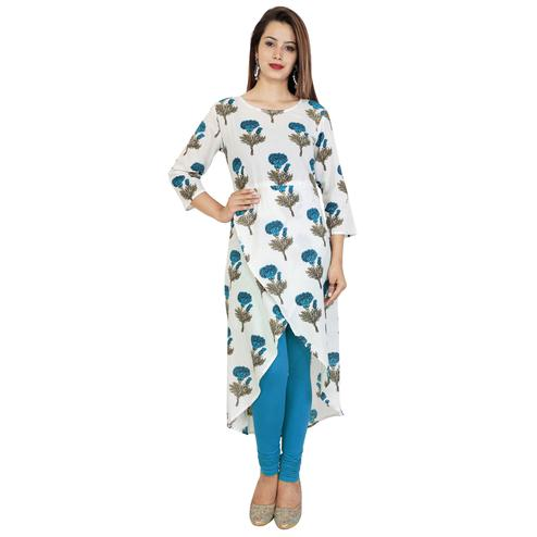 Majesty White Colored Partywear Printed Cotton Kurti
