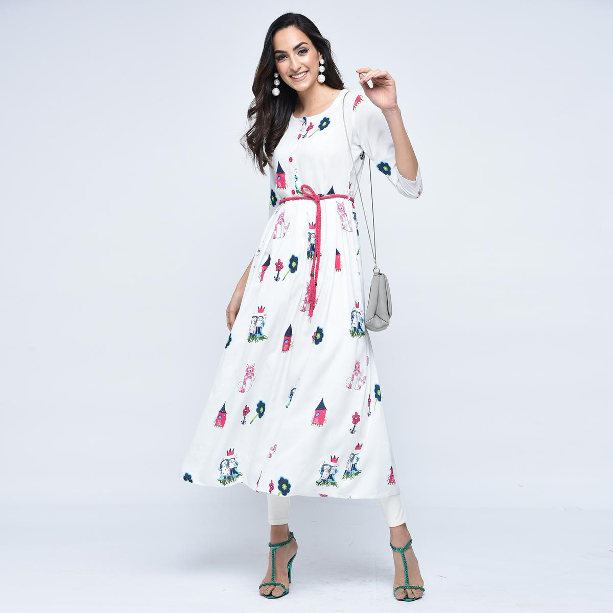 Impressive White Colored Partywear Printed Rayon Kurti