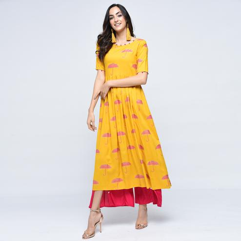 Mesmerising Yellow Colored Partywear Printed Viscose Kurti