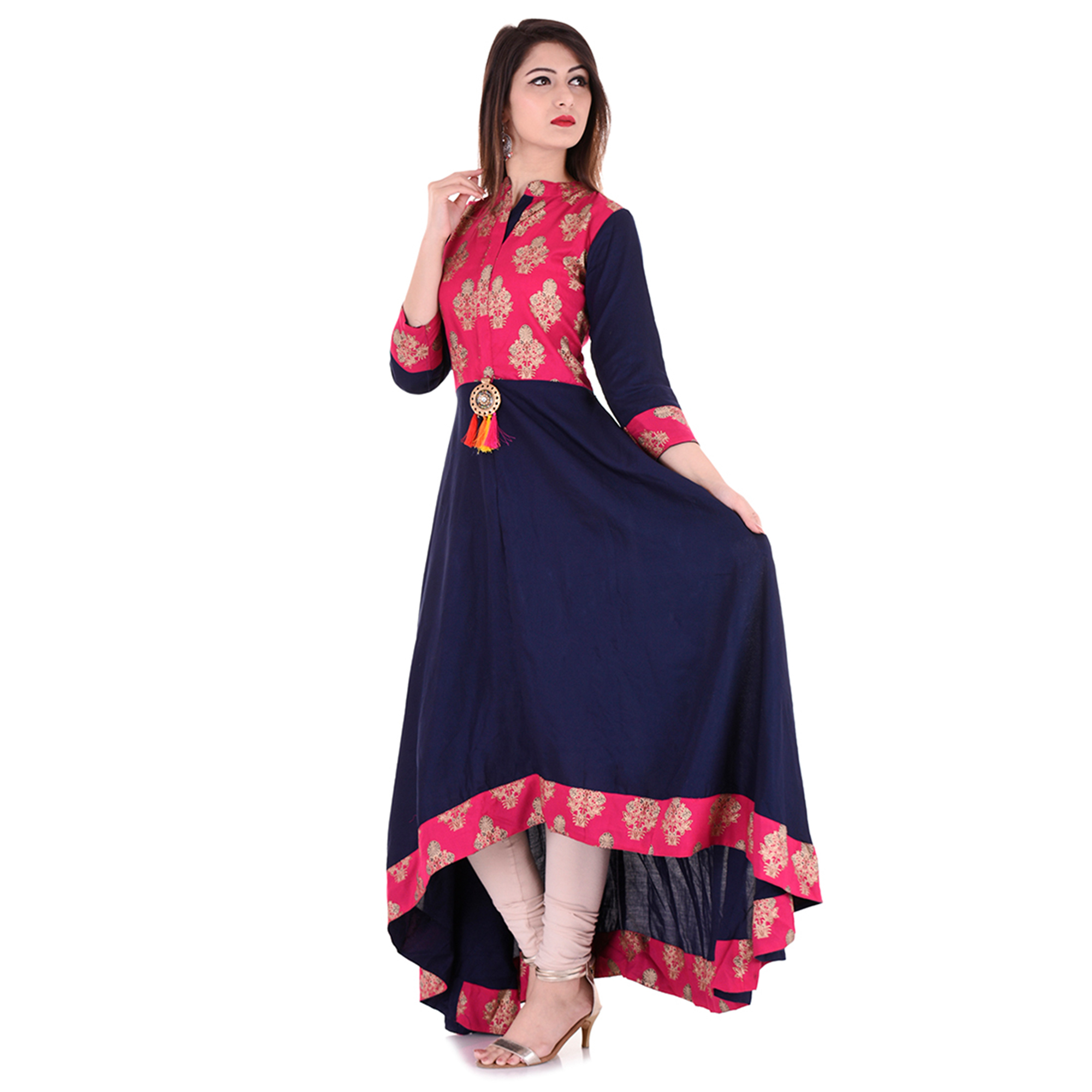 Pleasance Pink-Navy Blue Colored Partywear Printed Rayon Kurti