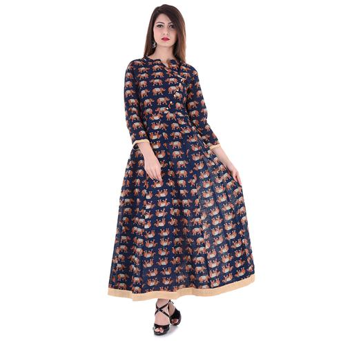 Breathtaking Navy Blue Colored Partywear Printed Cotton Slub Kurti