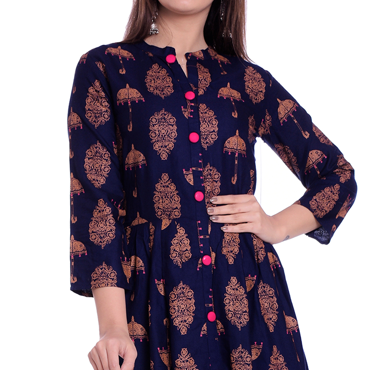 Ethnic Navy Blue Colored Partywear Printed Rayon Kurti