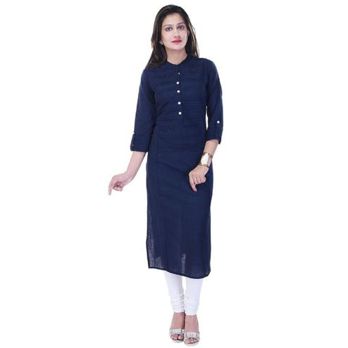 Staring Navy Blue Colored Casual Wear Cotton Slub Kurti