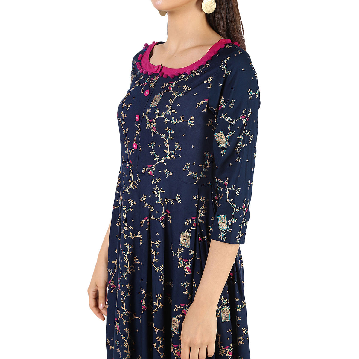Dazzling Navy Blue Colored Partywear Printed Rayon Kurti