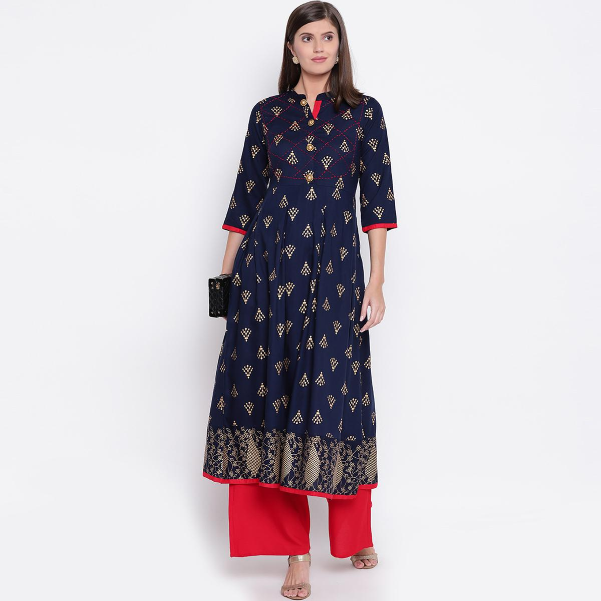 Radiant Navy Blue Colored Partywear Printed Rayon Kurti