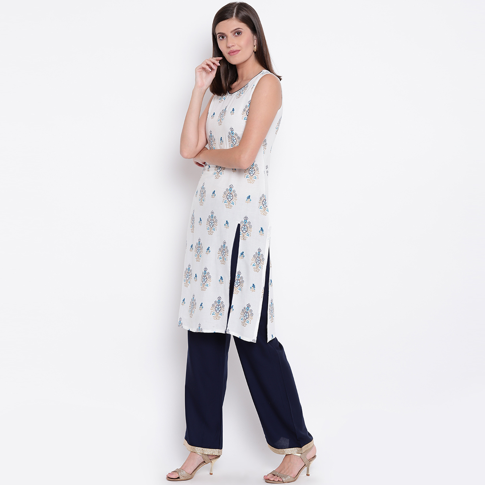 Pleasant White Colored Casual Printed Rayon Kurti