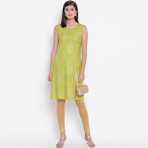 Opulent Green Colored Casual Printed Rayon Kurti