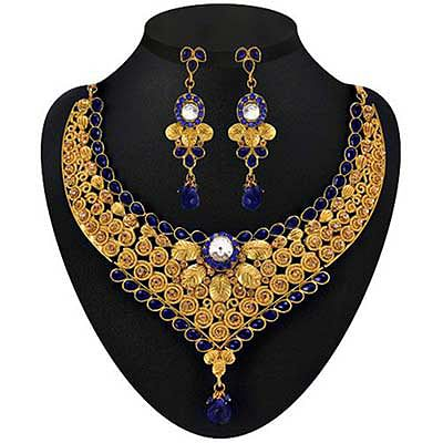 Blue Kundan Austrian Stone Drop Gold Finish Necklace Sets