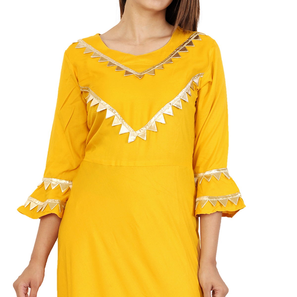 Glowing Yellow Colored Partywear Rayon Kurti