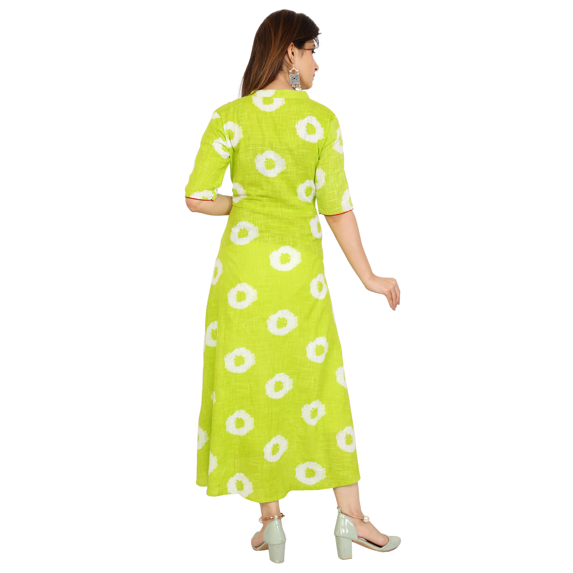 Exceptional Green Colored Casual Printed Cotton Slub Kurti