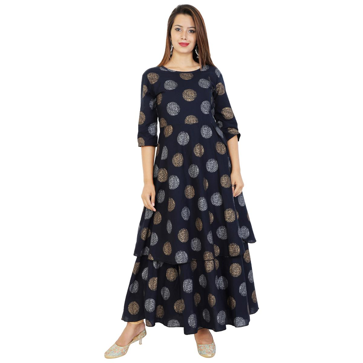 Gleaming Navy Blue Colored Partywear Printed Cotton Kurti