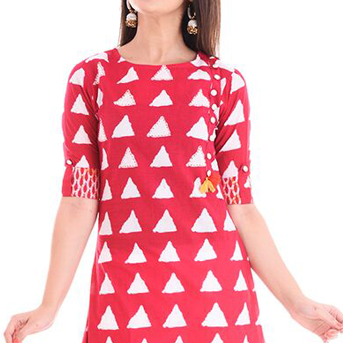 Mesmeric Red Colored Casual Printed Cotton Kurti
