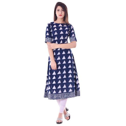Unique Navy Blue Colored Casual Printed Cotton Kurti