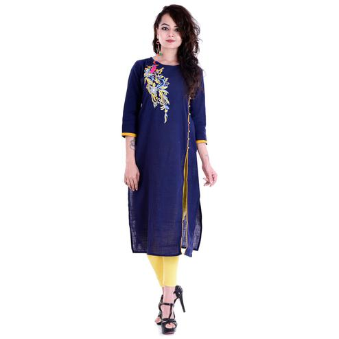 Demanding Navy Blue Colored Casual Embroidered Cotton Slub Kurti