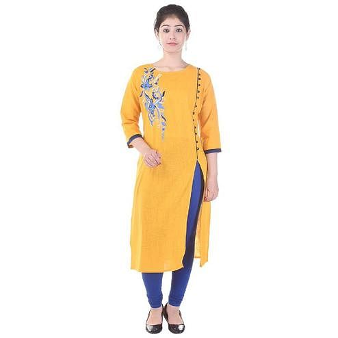 Excellent Yellow Colored Casual Embroidered Cotton Slub Kurti
