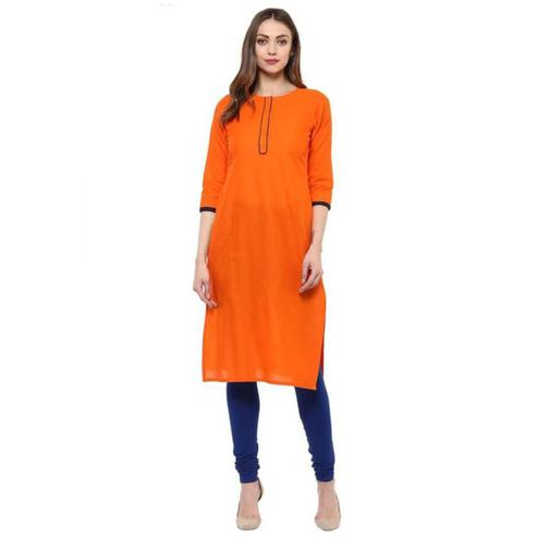 Preferable Orange Colored Casual Cotton Slub Kurti