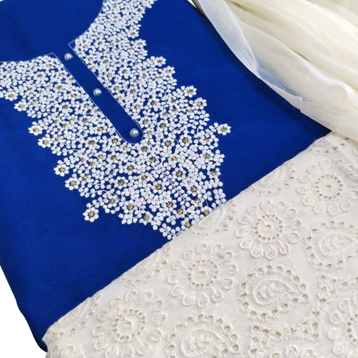 Alluring Blue Colored Partywear Embroidered Cotton Dress Material