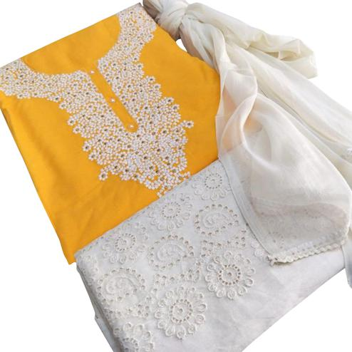 Classy Yellow Colored Partywear Embroidered Cotton Dress Material