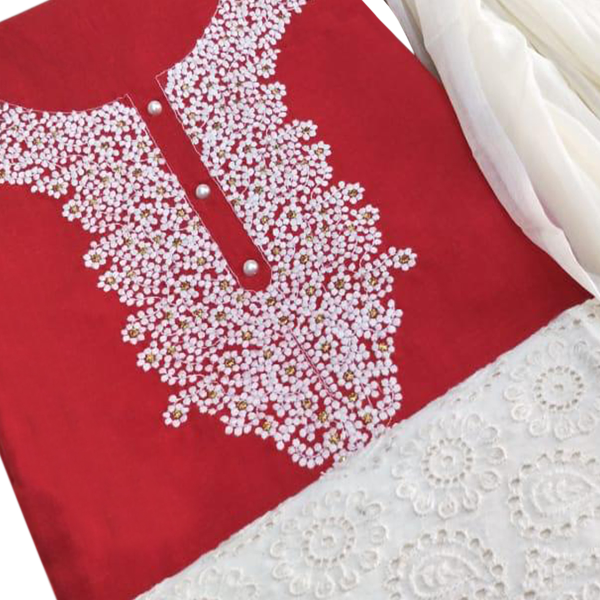 Attractive Red Colored Partywear Embroidered Cotton Dress Material