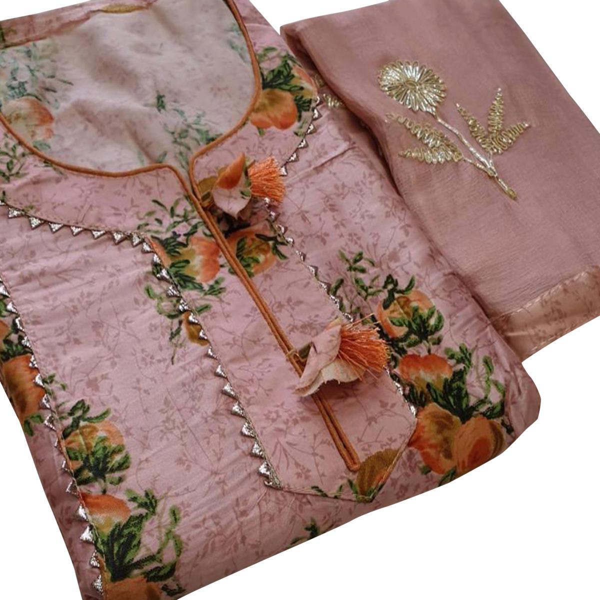 Amazing Pink Colored Partywear Printed Cotton Dress Material