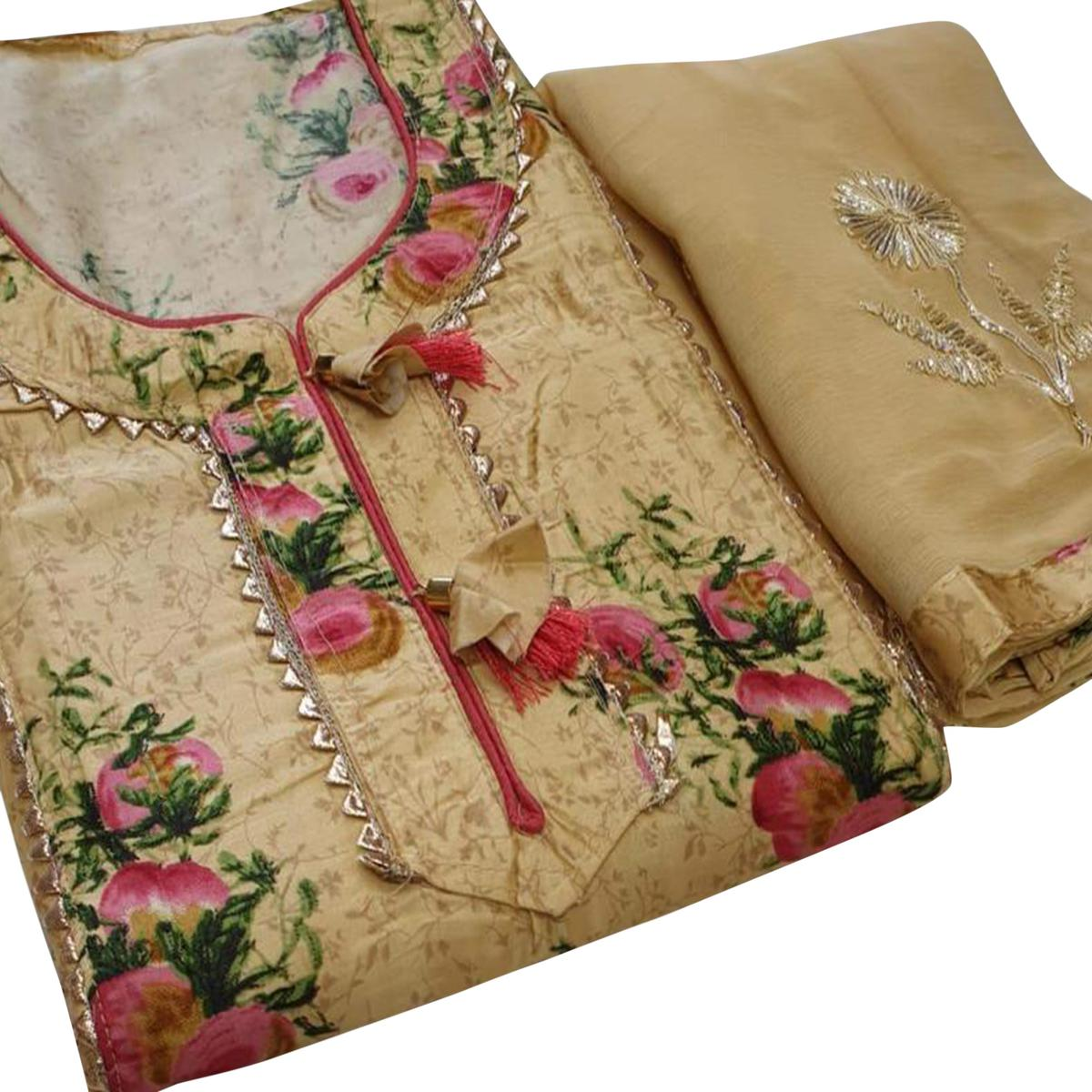 Elegant Beige Colored Partywear Printed Cotton Dress Material