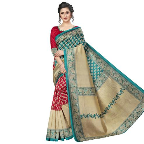 Blissful Red-Rama Blue Colored Festive Wear Art Silk Saree