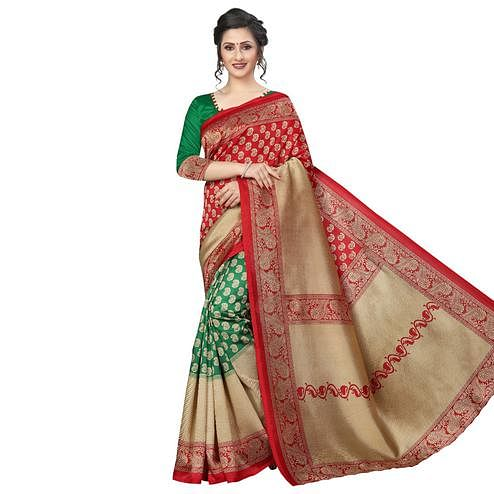 Ideal Green-Red Colored Festive Wear Art Silk Saree