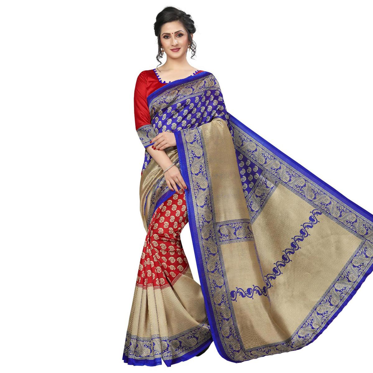 Imposing Red-Blue Colored Festive Wear Art Silk Saree
