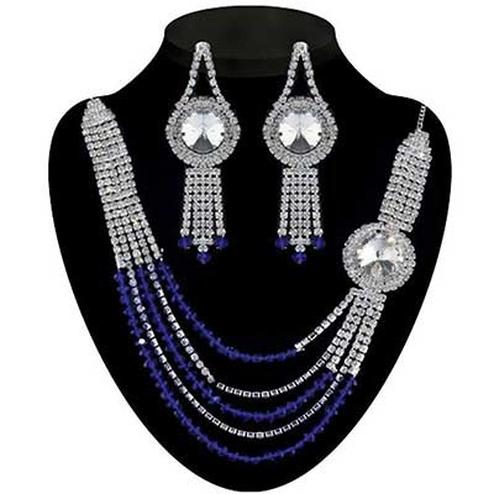 Austrian Stone Blue Crystal Rhodium Finish Necklace Sets