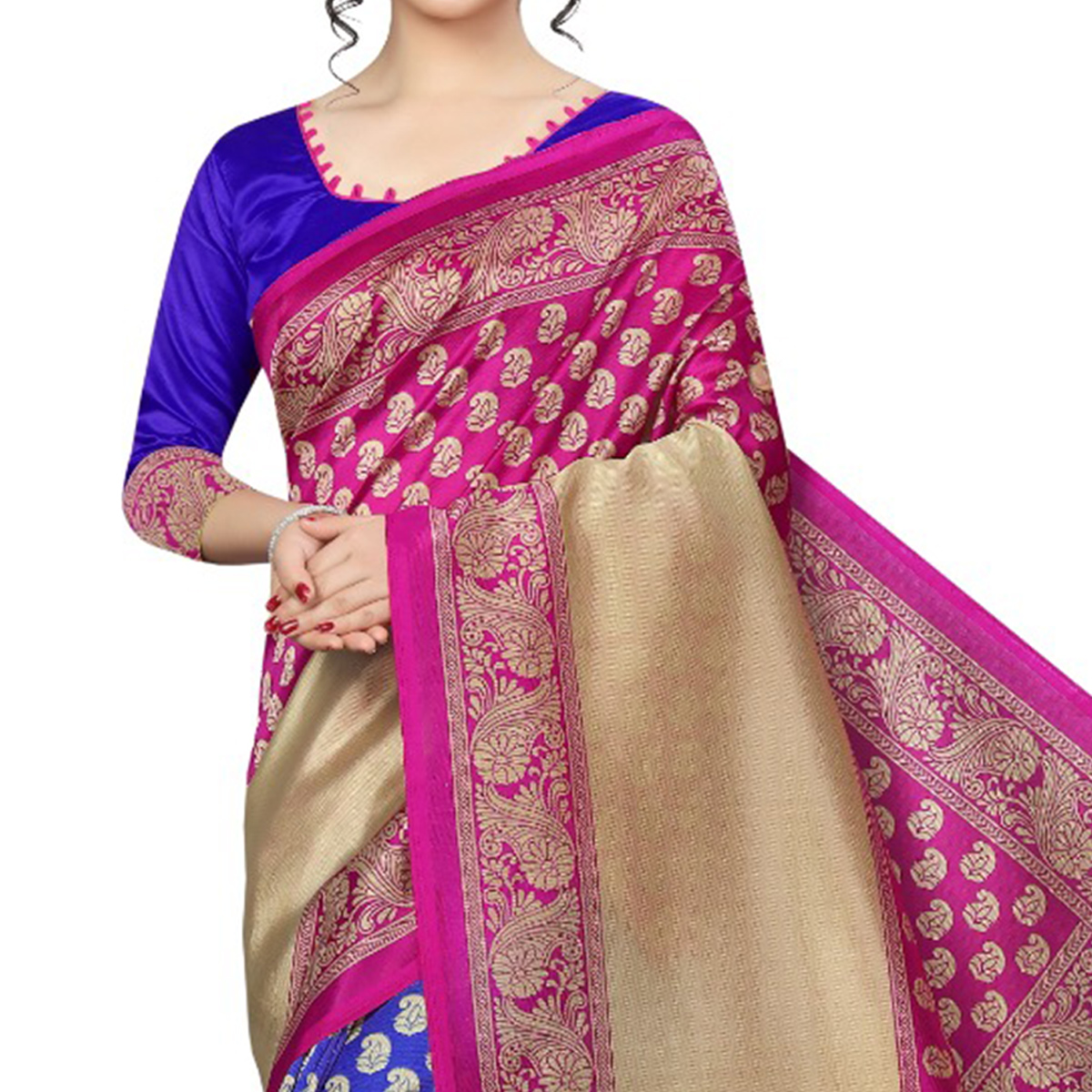 Lovely Blue-Pink Colored Festive Wear Art Silk Saree