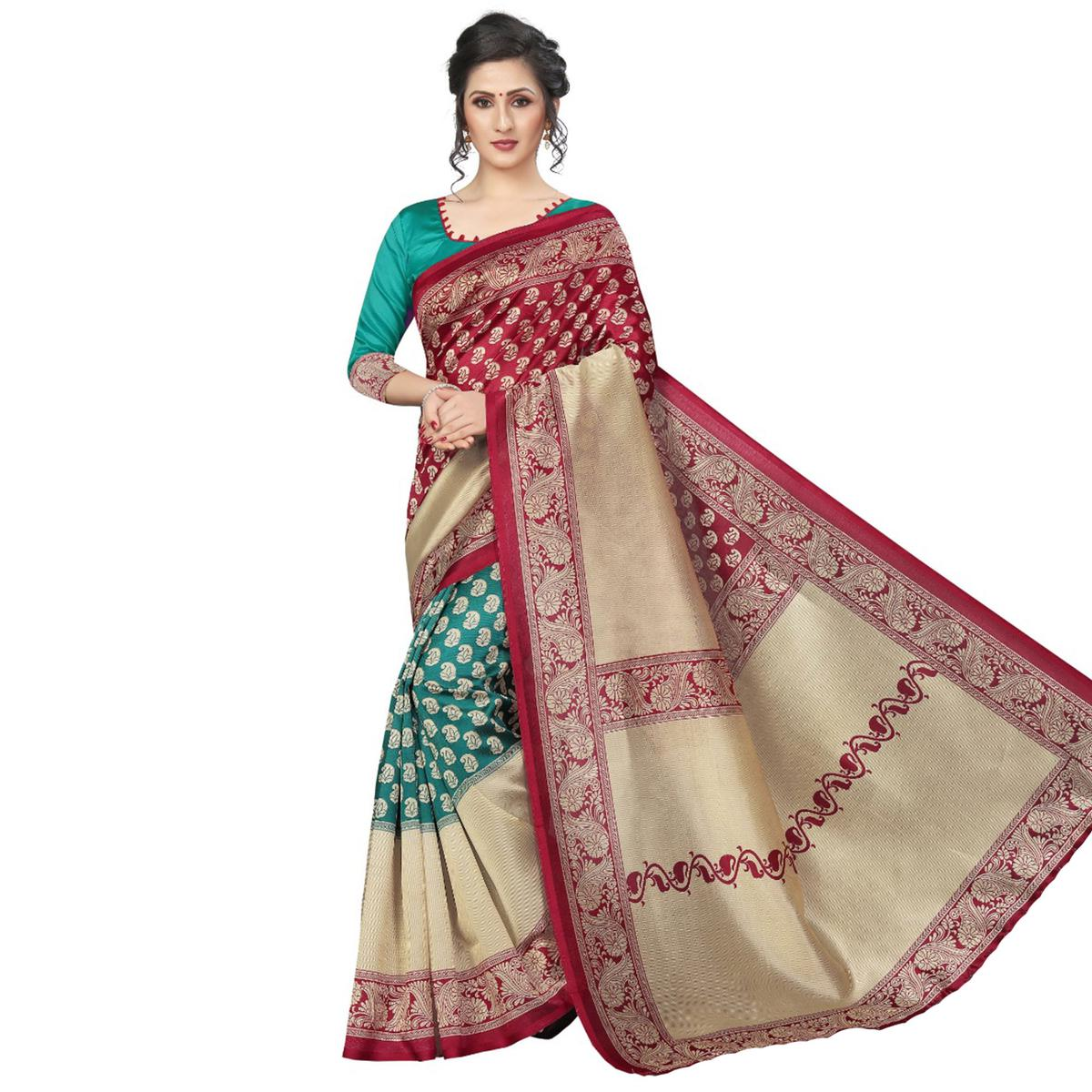 Majesty Turquoise Green-Maroon Colored Festive Wear Art Silk Saree