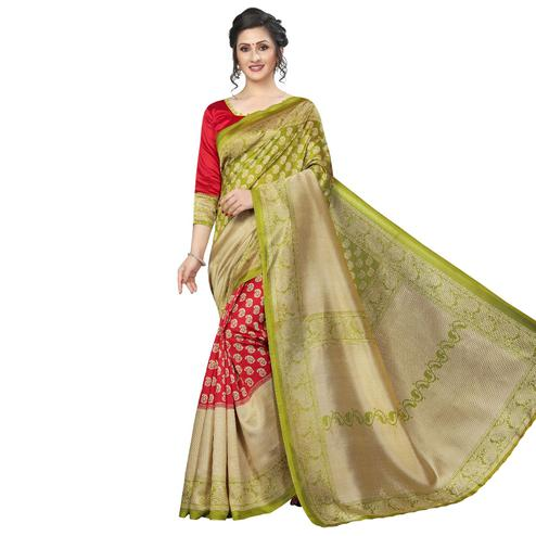 Impressive Red-Green Colored Festive Wear Art Silk Saree
