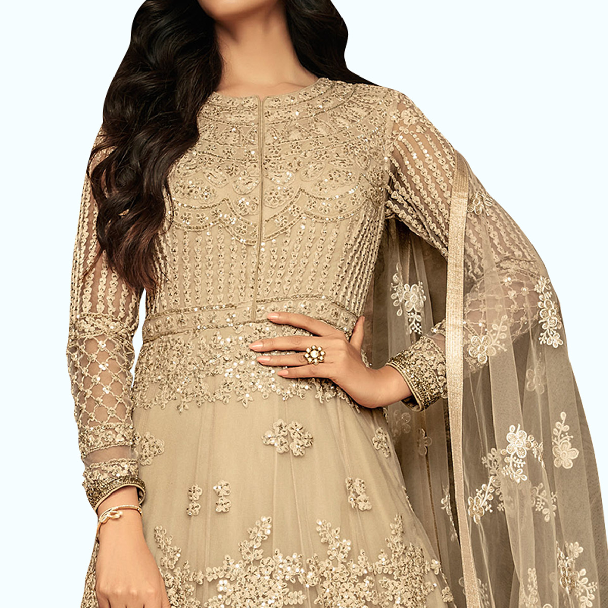 Pleasance Beige Colored Partywear Embroidered Netted Anarkali Suit