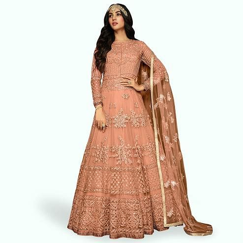 Breathtaking Peach Colored Partywear Embroidered Netted Anarkali Suit