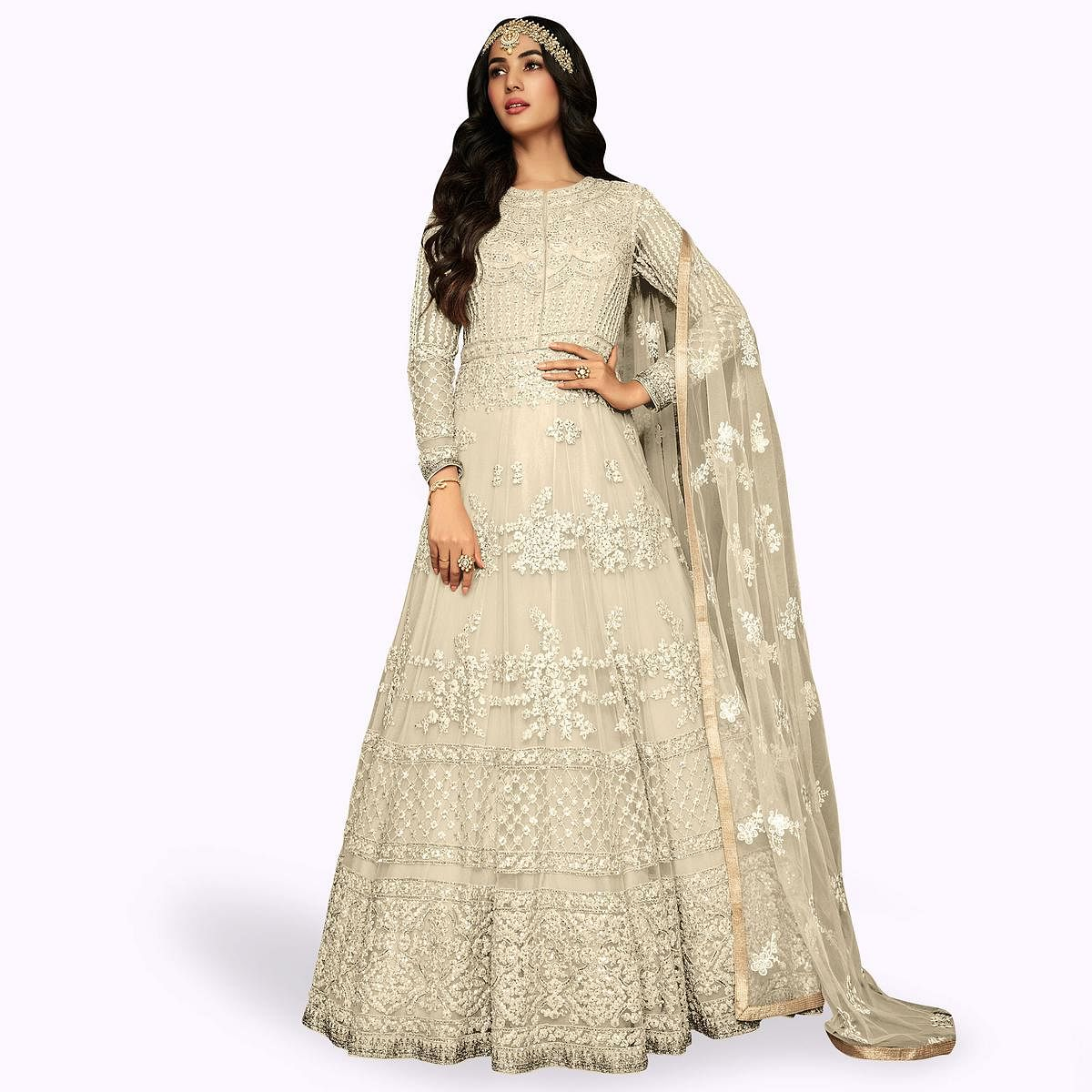 Surpassing White Colored Partywear Embroidered Netted Anarkali Suit