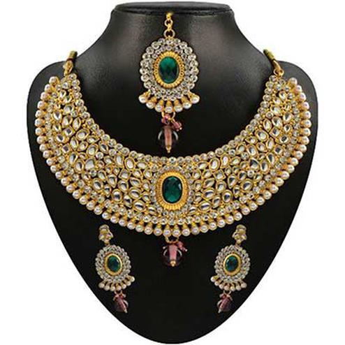 Kundan Green Austrian Stone Pearl Drop Gold Finish Necklace Sets With Maang Tikka