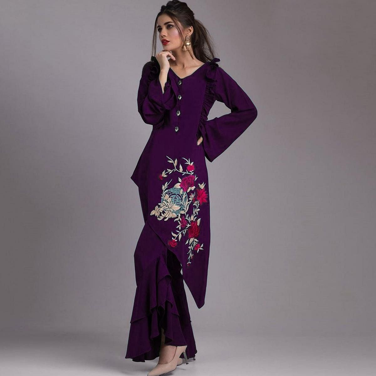 Gleaming Dark Purple Colored Partywear Embroidered Heavy Georgette Kurti-Palazzo Set