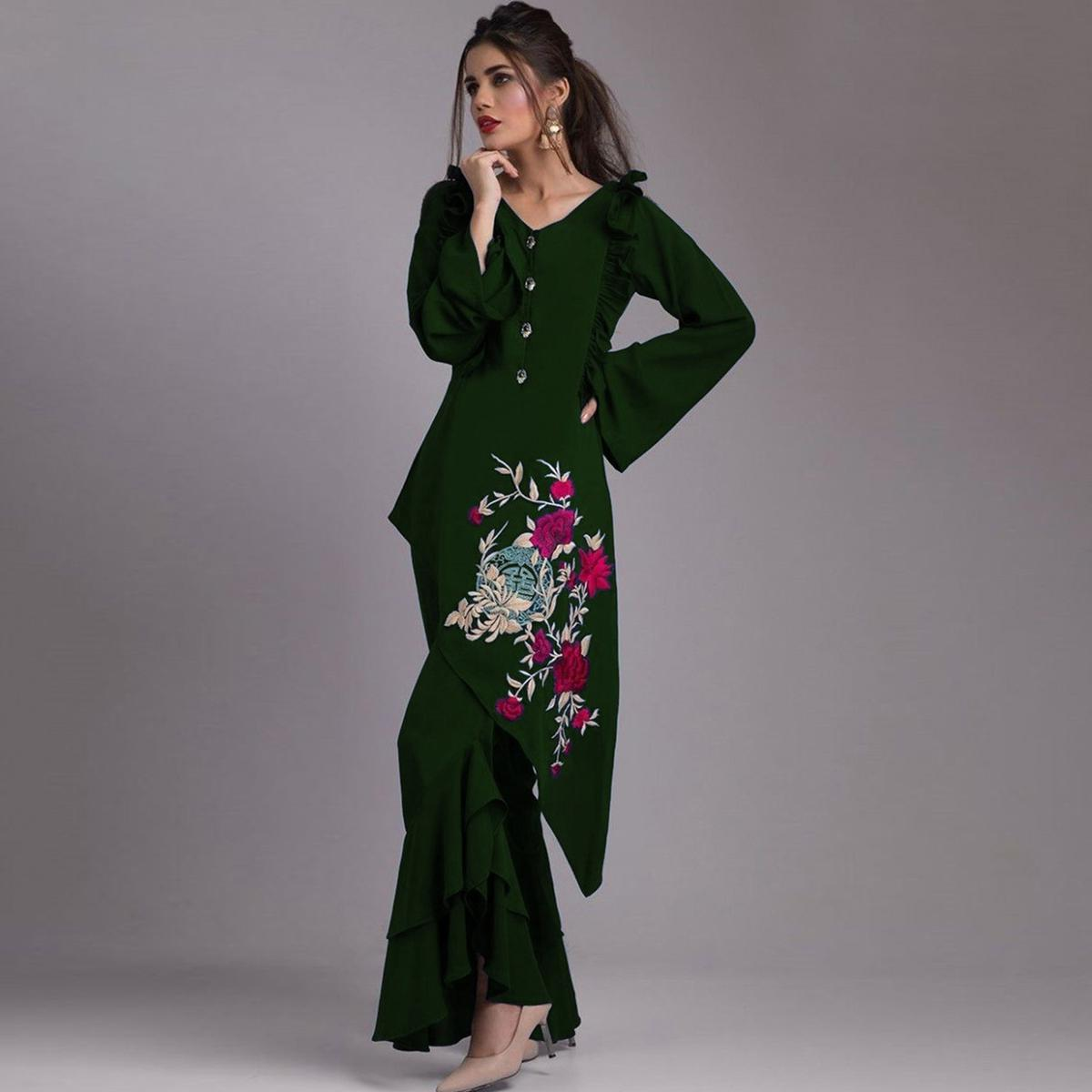 Mesmeric Dark Green Colored Partywear Embroidered Heavy Georgette Kurti-Palazzo Set