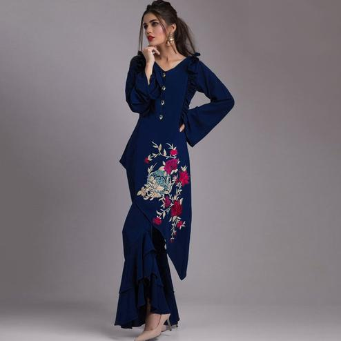 Unique Dark Blue Colored Partywear Embroidered Heavy Georgette Kurti-Palazzo Set