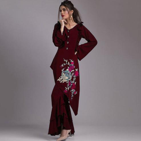 Demanding Maroon Colored Partywear Embroidered Heavy Georgette Kurti-Palazzo Set