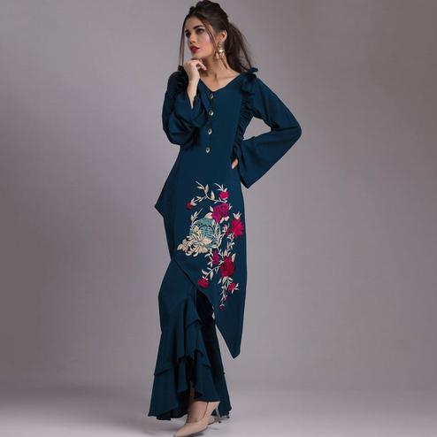 Refreshing Teal Blue Colored Partywear Embroidered Heavy Georgette Kurti-Palazzo Set