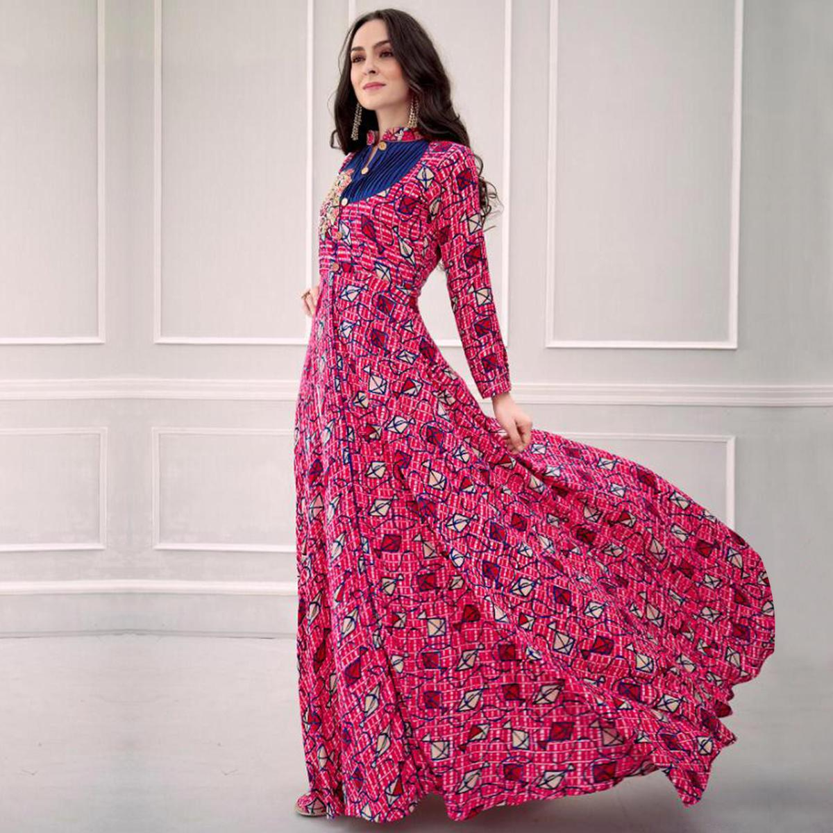 Attractive Pink Colored Partywear Printed Rayon Gown