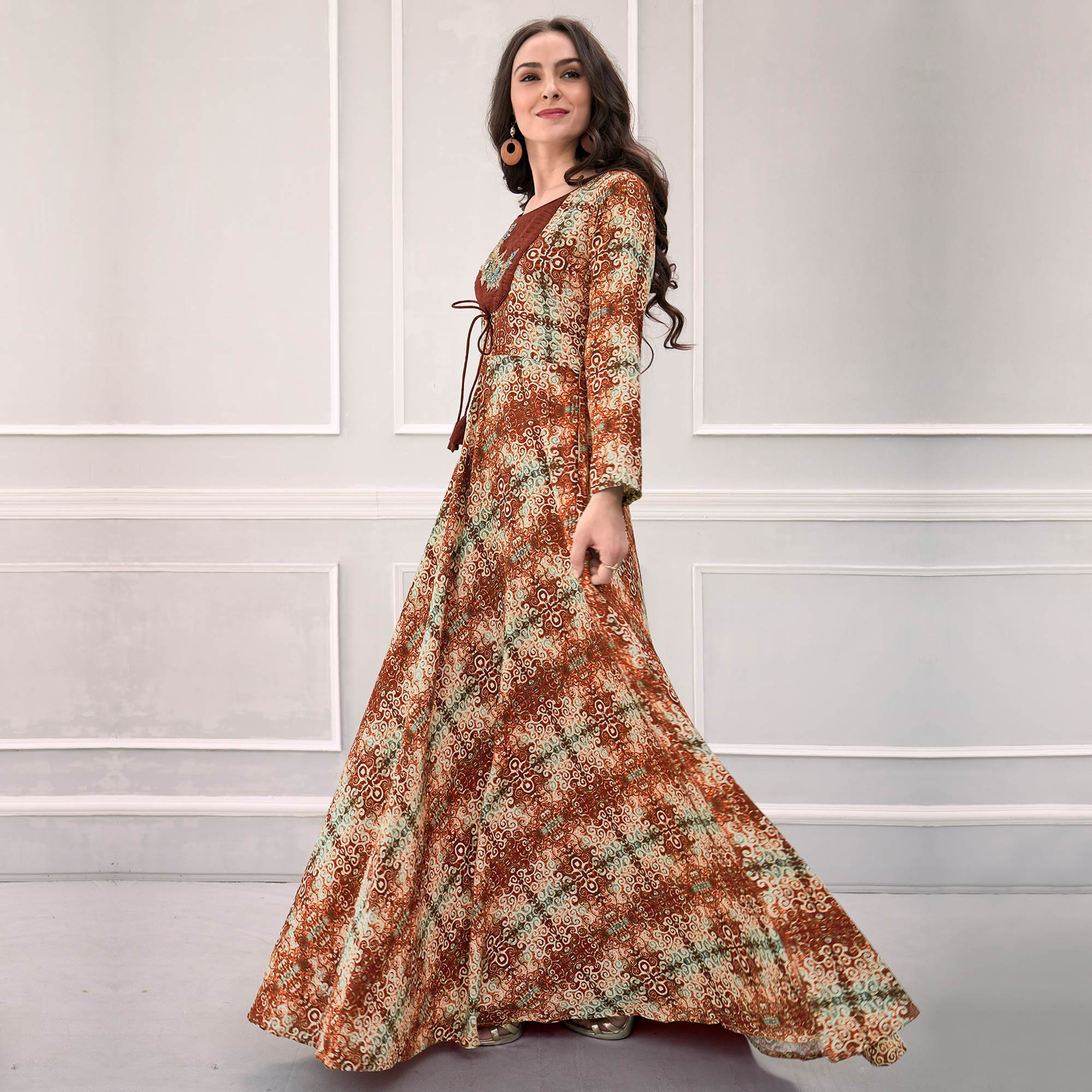 Beautiful Brown Colored Partywear Printed Rayon Gown