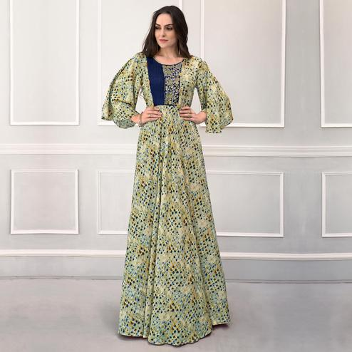 Graceful Green Colored Partywear Printed Rayon Gown