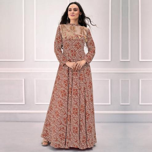 Blooming Light Brown Colored Partywear Printed Rayon Gown
