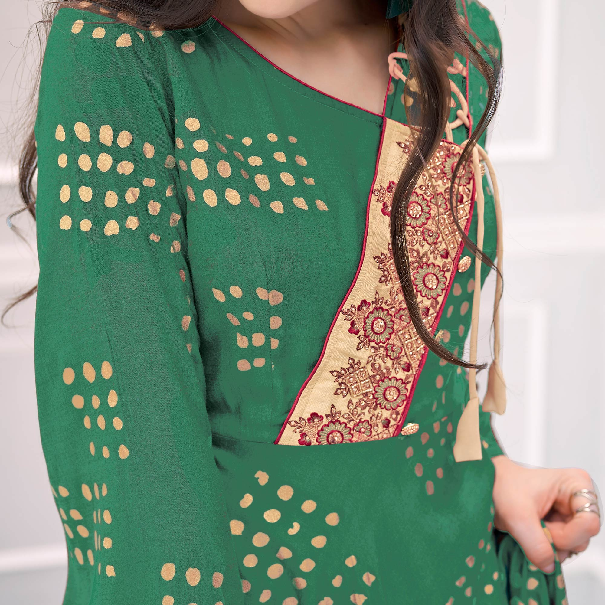 Charming Green Colored Partywear Printed Cotton Gown