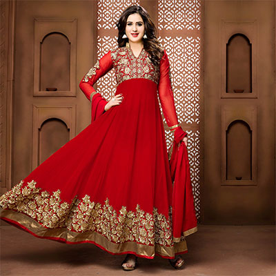 Red Wedding Wear Anarkali Suit