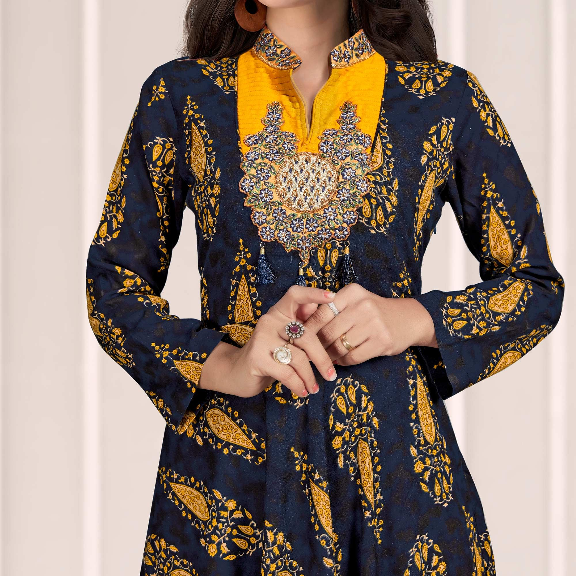 Jazzy Navy Blue Colored Partywear Printed Rayon Gown